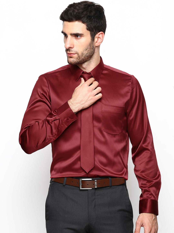 Buy Turtle Men Maroon Slim Fit Semiformal Shirt - Shirts for Men ...