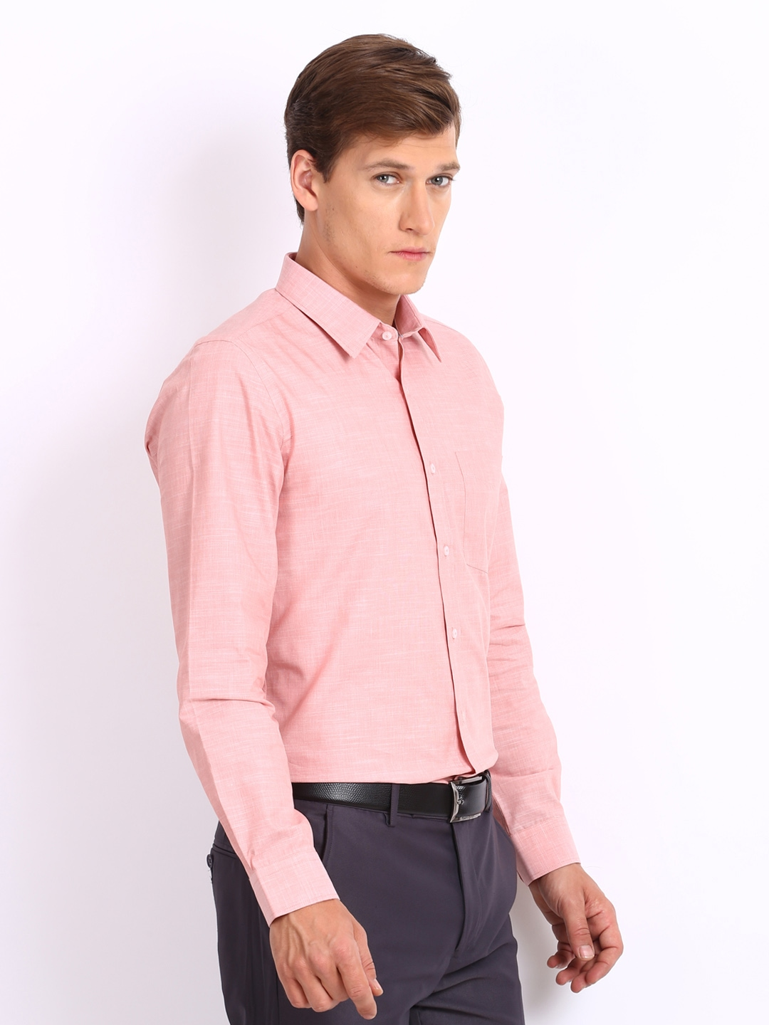 Buy Turtle Men Peach Coloured Tailored Slim Fit Formal Shirt ...