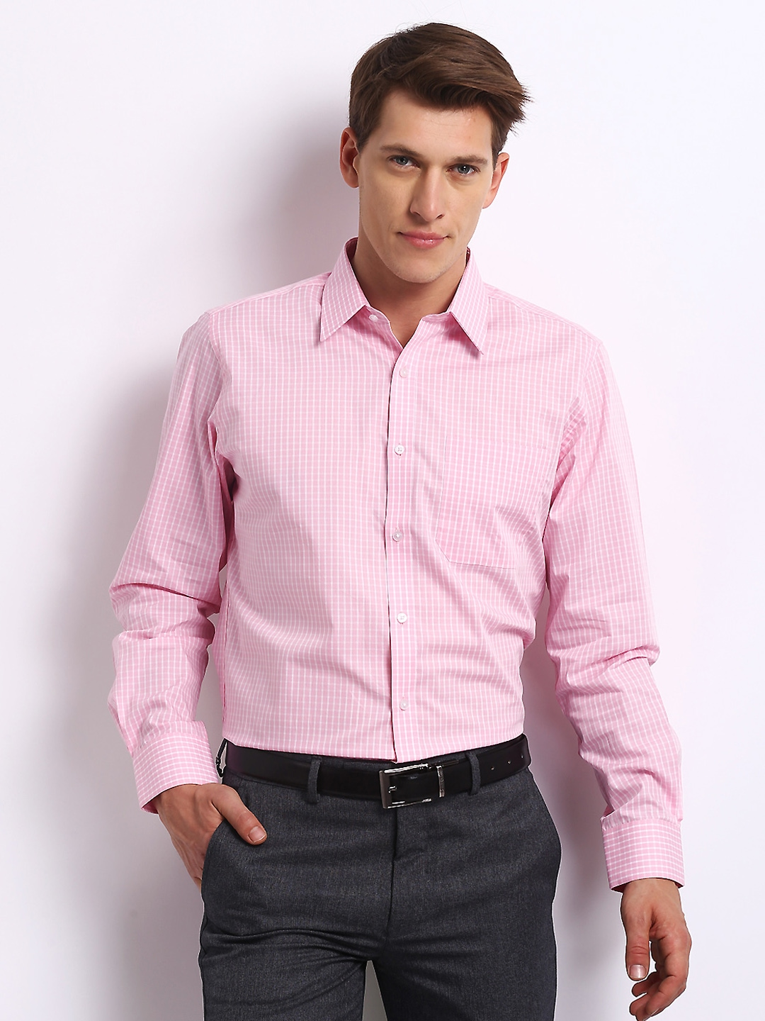 Myntra turtle men pink white checked tailored fit formal for Tailor dress shirt cost