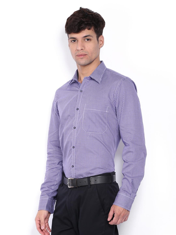 Myntra turtle men purple white checked slim fit formal for Purple and white checked shirt