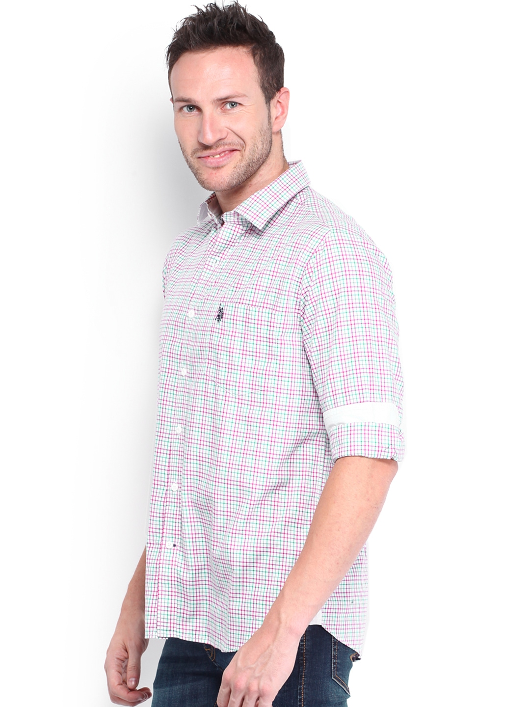 Myntra U S Polo Assn Men White Pink Striped Tailored