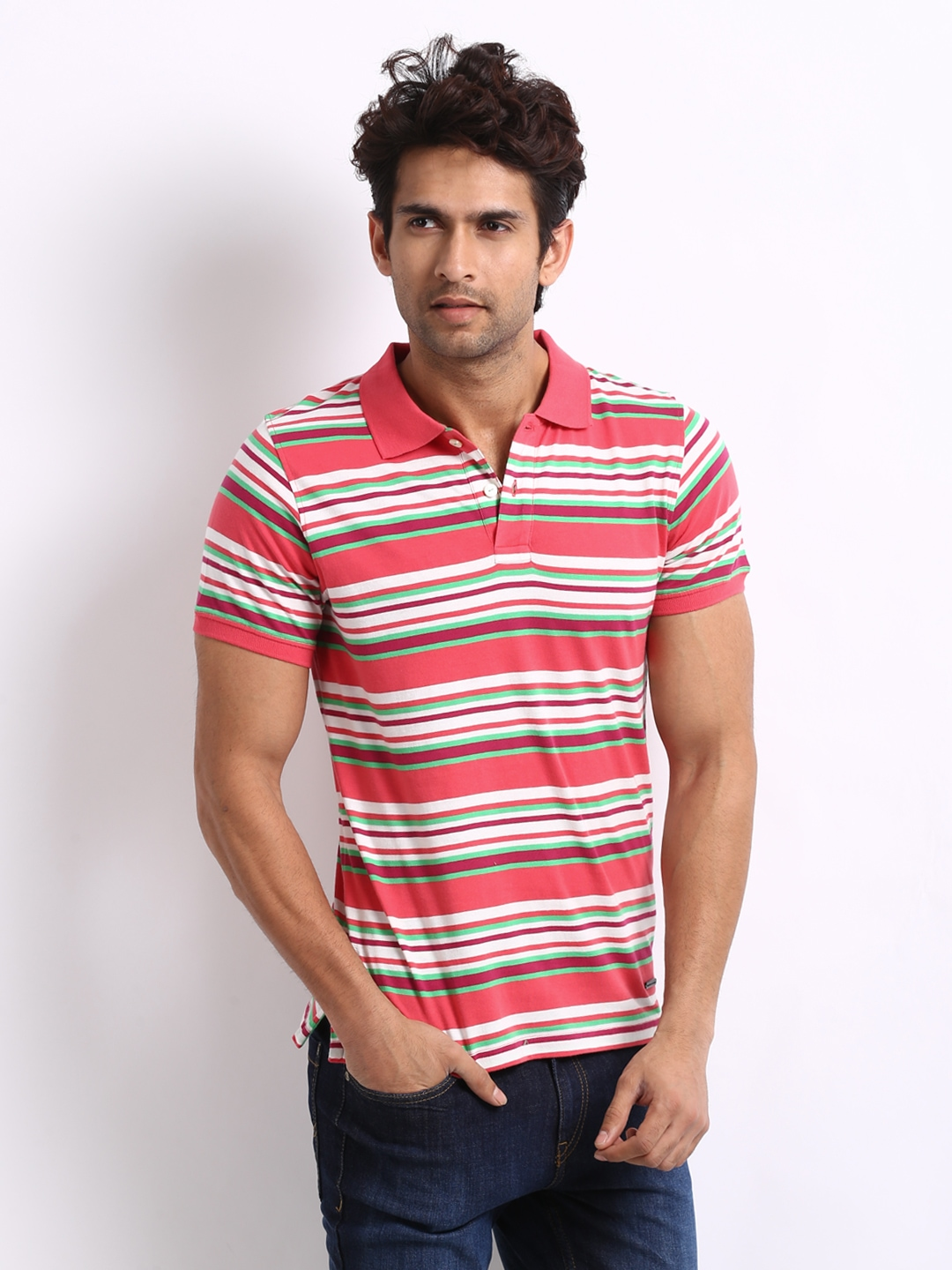 Myntra united colors of benetton men red white striped for Red white striped polo shirt