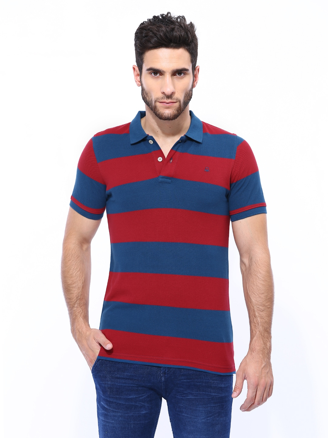 Myntra united colors of benetton men red blue striped for Red blue striped shirt