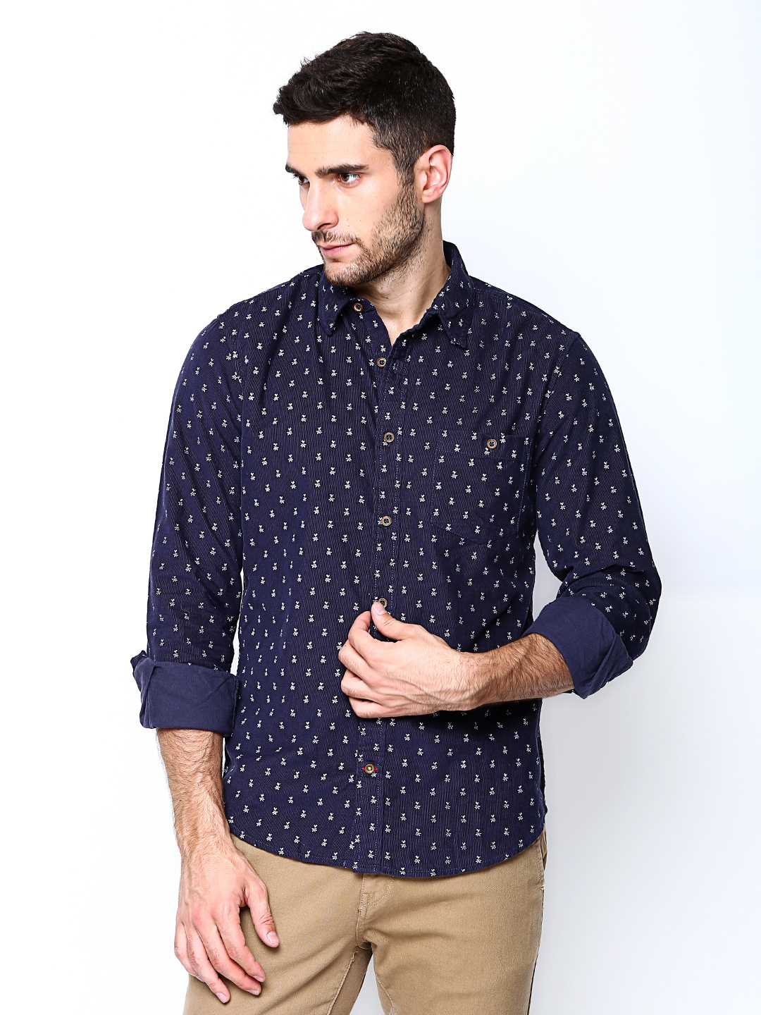 Myntra united colors of benetton men navy printed corduroy for Printed shirts for men