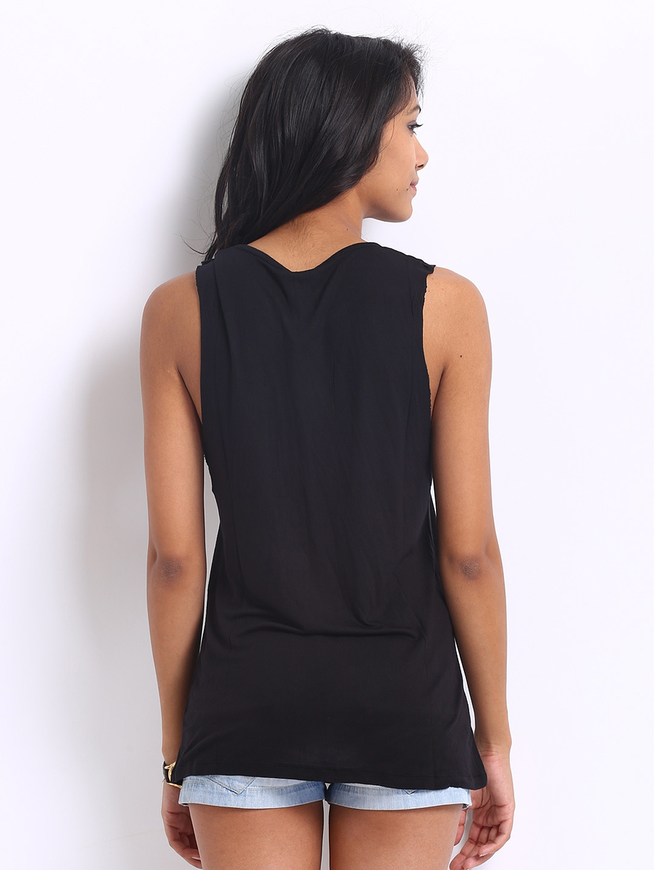 Myntra United Colors Of Benetton Women Black Sleeveless T