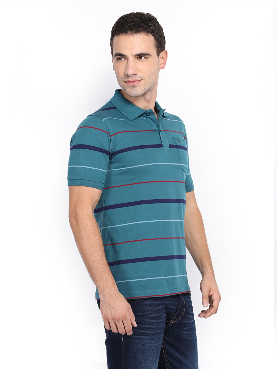 Myntra van heusen men teal blue striped polo t shirt for Mens teal polo shirt