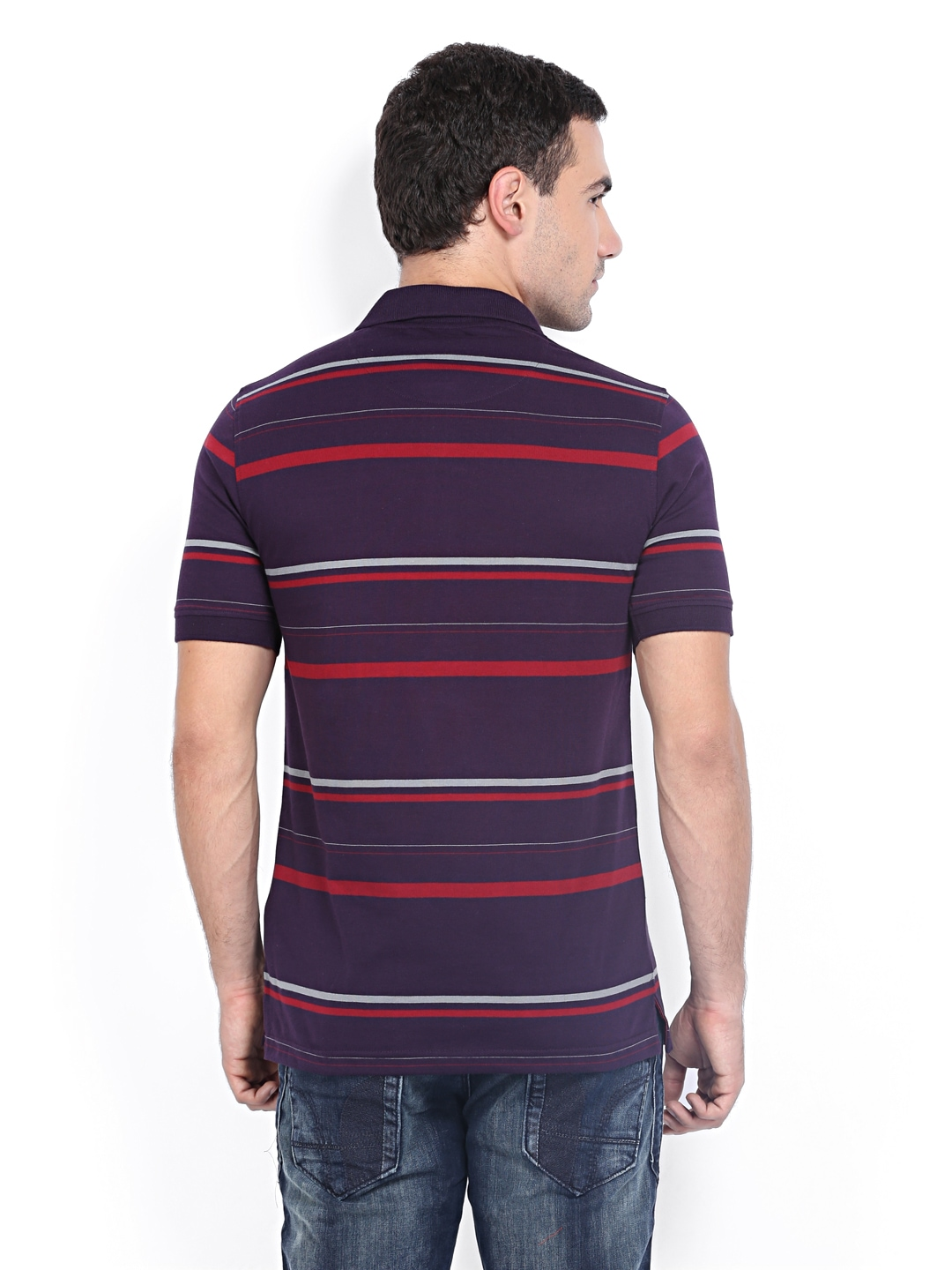 Myntra van heusen men purple red striped polo t shirt for Purple and black striped t shirt