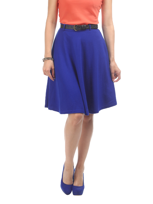 myntra vero moda cobalt blue safrem flared knit skirt