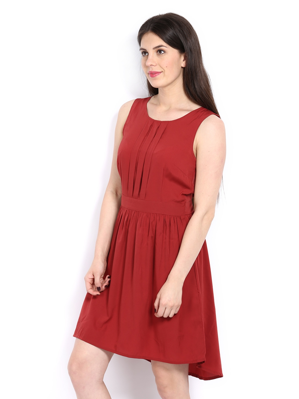 myntra vero moda maroon fit flare dress 201529 buy. Black Bedroom Furniture Sets. Home Design Ideas