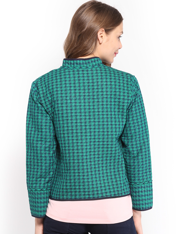 Myntra Vishudh Women Green Amp Navy Ethnic Reversible Jacket
