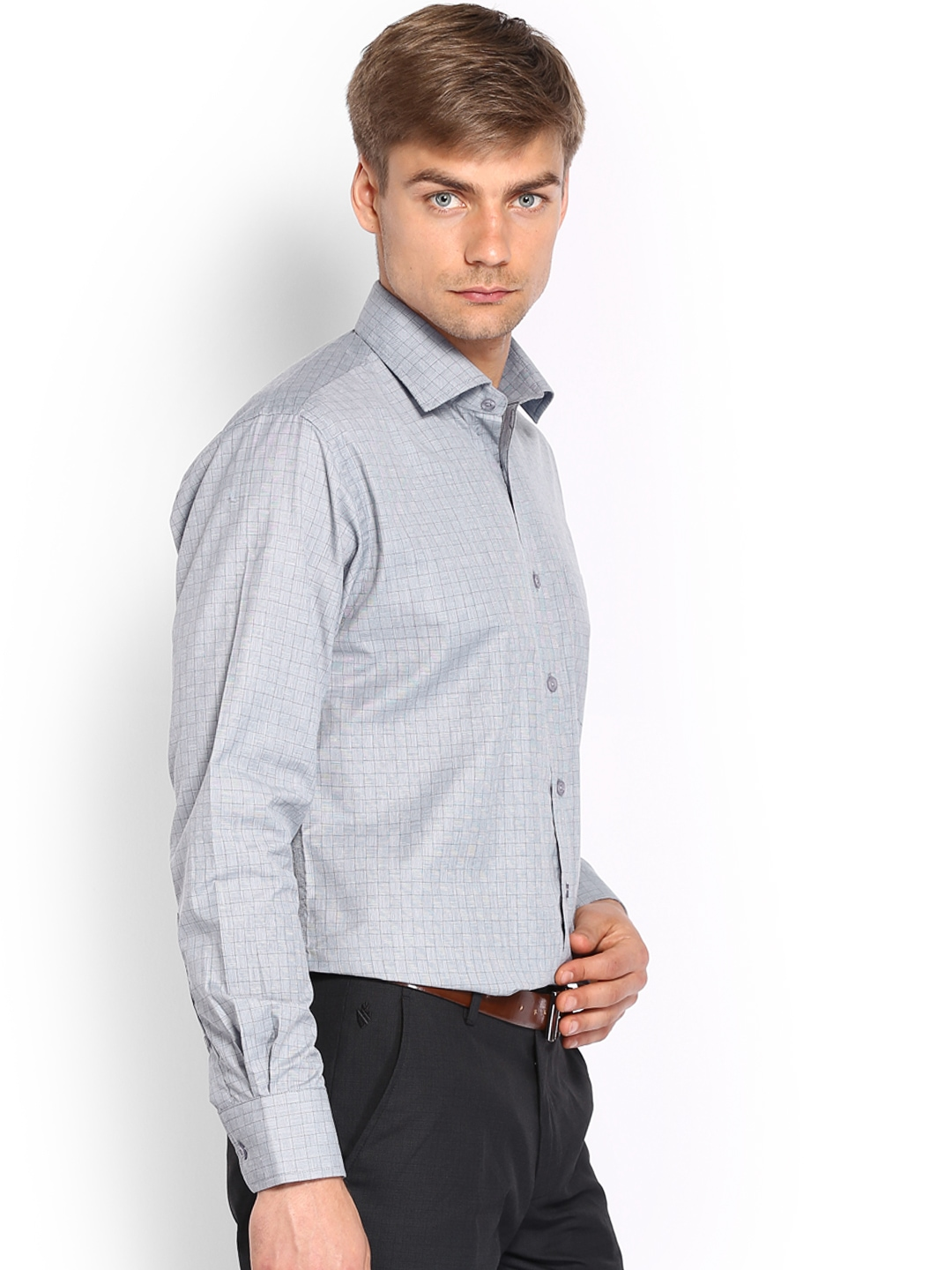 Myntra vivaldi men blue white checked tailored fit for Tailor dress shirt cost
