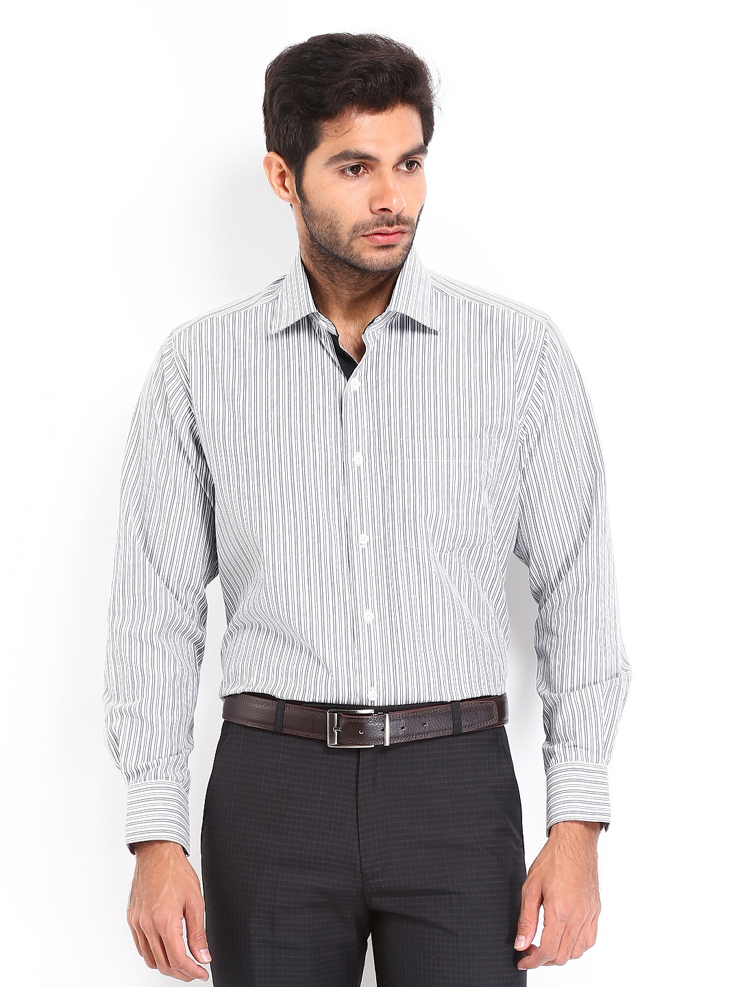 Myntra vivaldi men white grey striped tailored fit for Best online tailored shirts