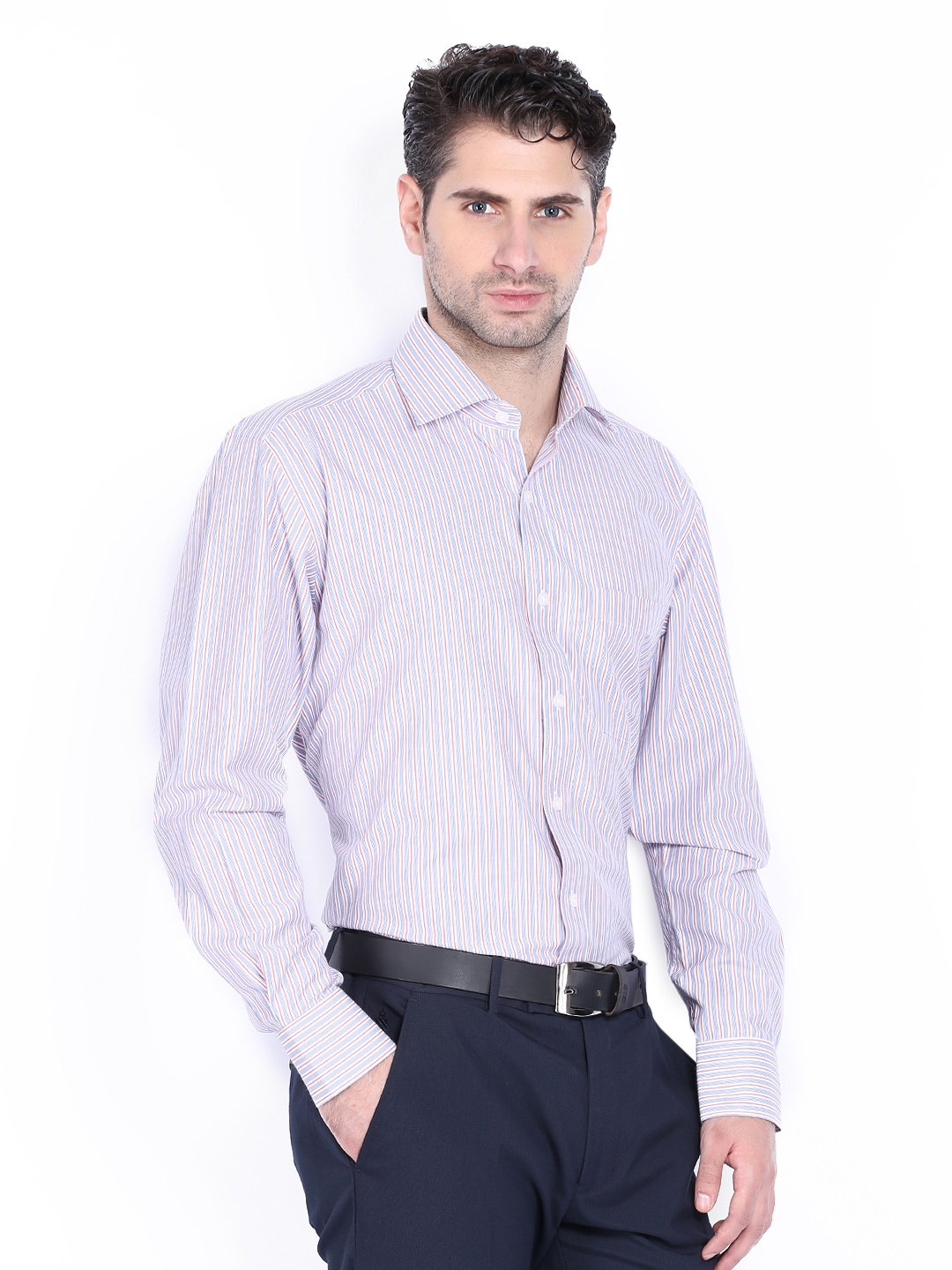 Myntra vivaldi men white blue striped tailored fit for Best online tailored shirts