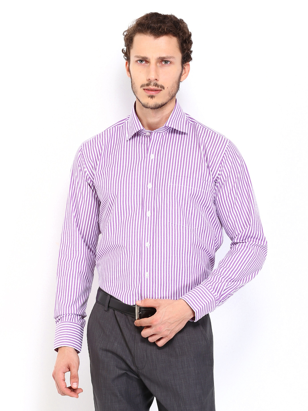 Myntra vivaldi men white lavender striped tailored fit for Boys white formal shirt