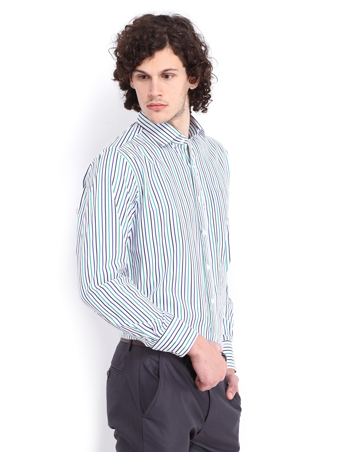 Myntra vivaldi men white navy striped tailored fit for Boys white formal shirt