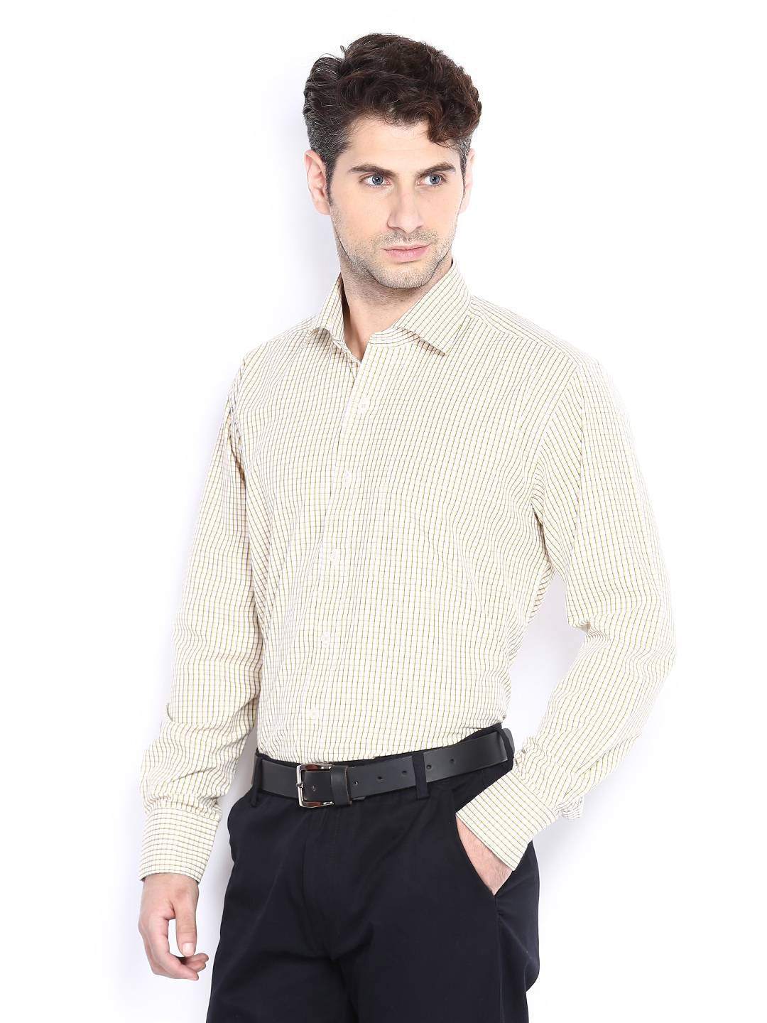 Myntra vivaldi men white yellow checked tailored fit for Tailor dress shirt cost