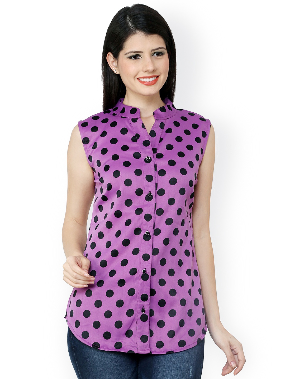 Myntra vovoka women purple printed shirt 781048 buy for Shirts online shopping lowest price
