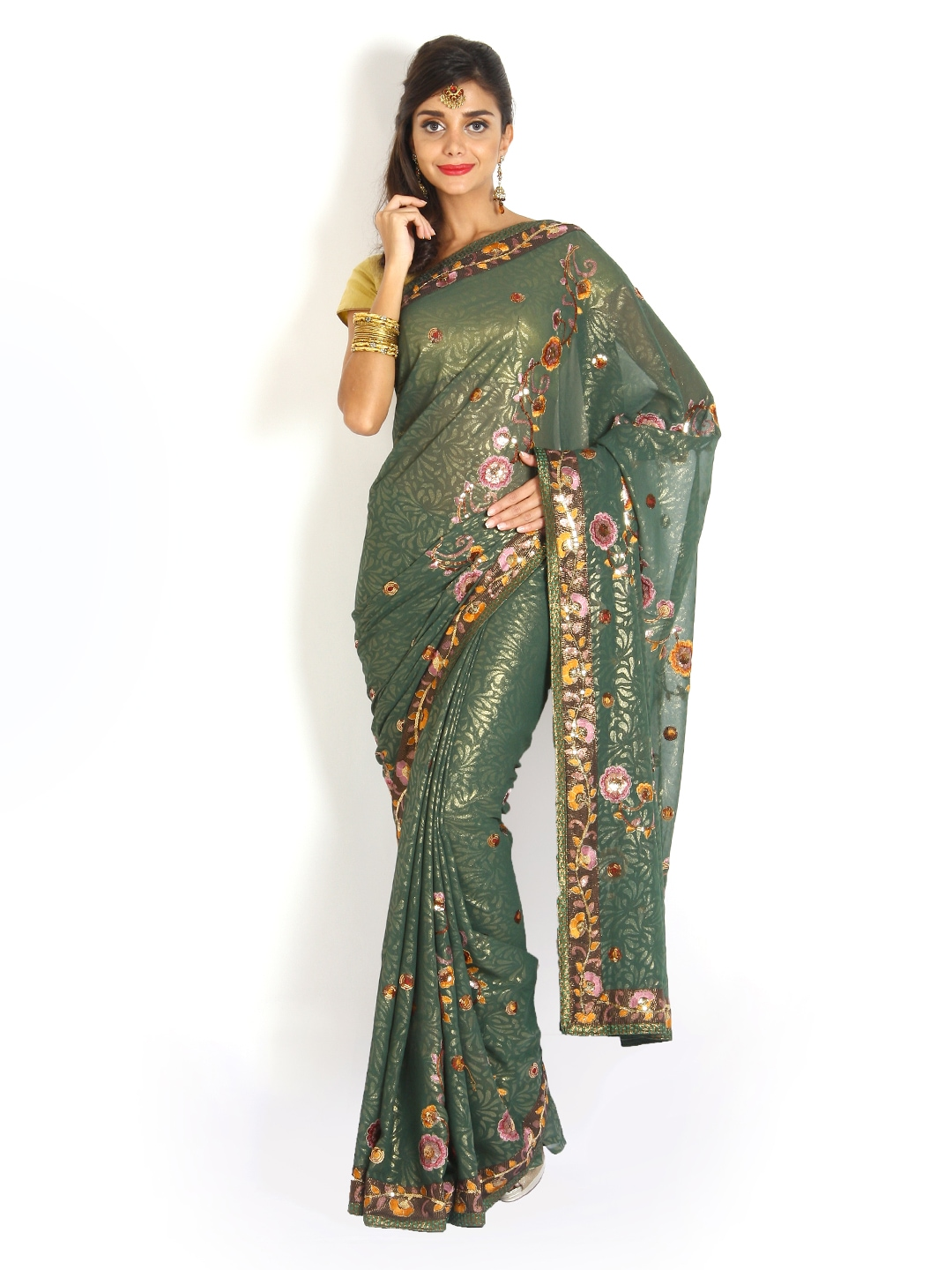 Vritika Green Embroidered Georgette Fashion Saree available at Myntra for Rs.216720