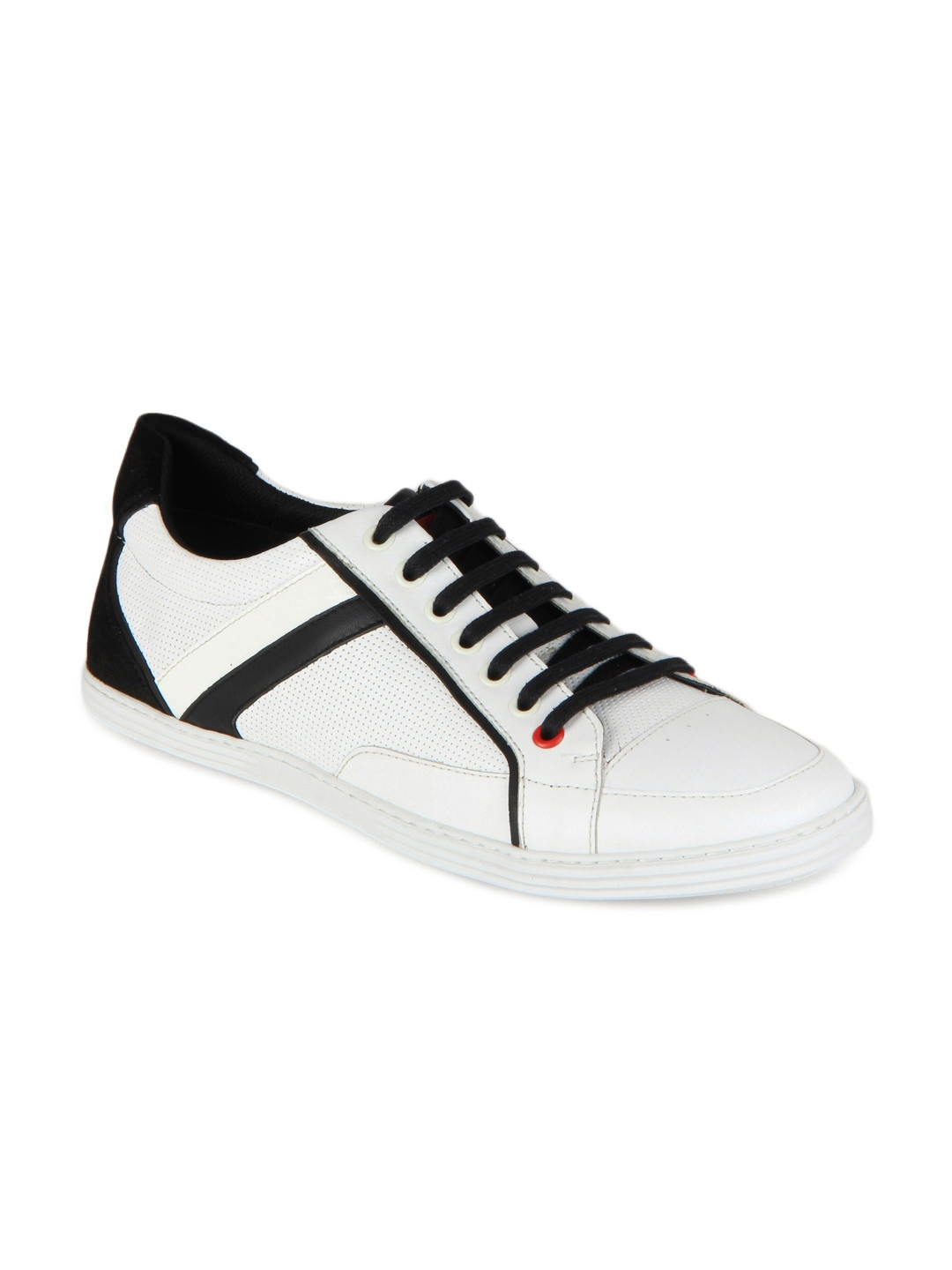 myntra white black white leather casual shoes 164885