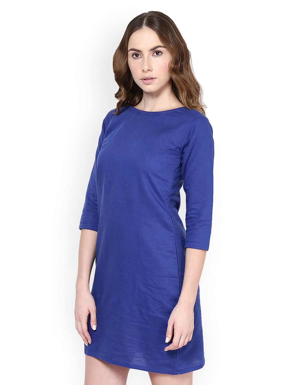 Myntra Westhreads Women Blue Shift Dress 419693