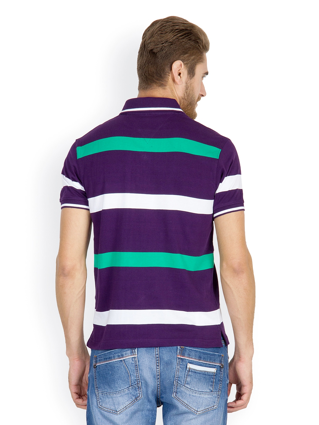 Myntra wilkins tuscany men purple white green striped for Purple and black striped t shirt