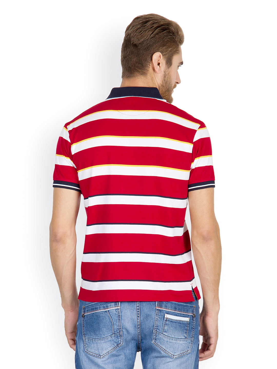 Myntra wilkins tuscany men red off white striped polo for Red white striped polo shirt