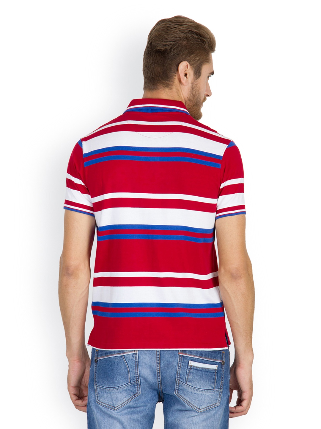 Myntra wilkins tuscany men red white striped polo t for Red white striped polo shirt