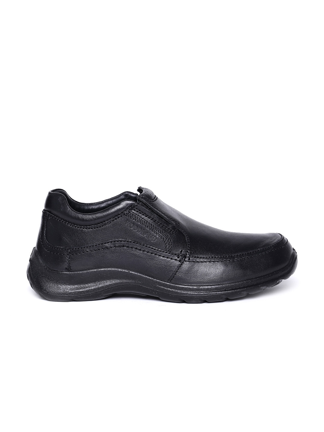 myntra woodland black leather casual shoes 563752