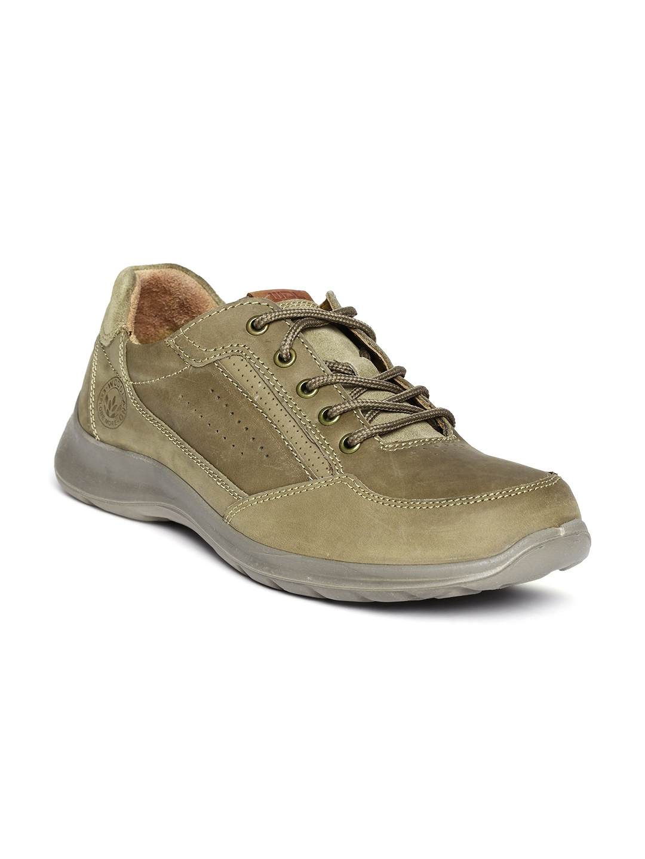 myntra woodland khaki leather casual shoes 563748