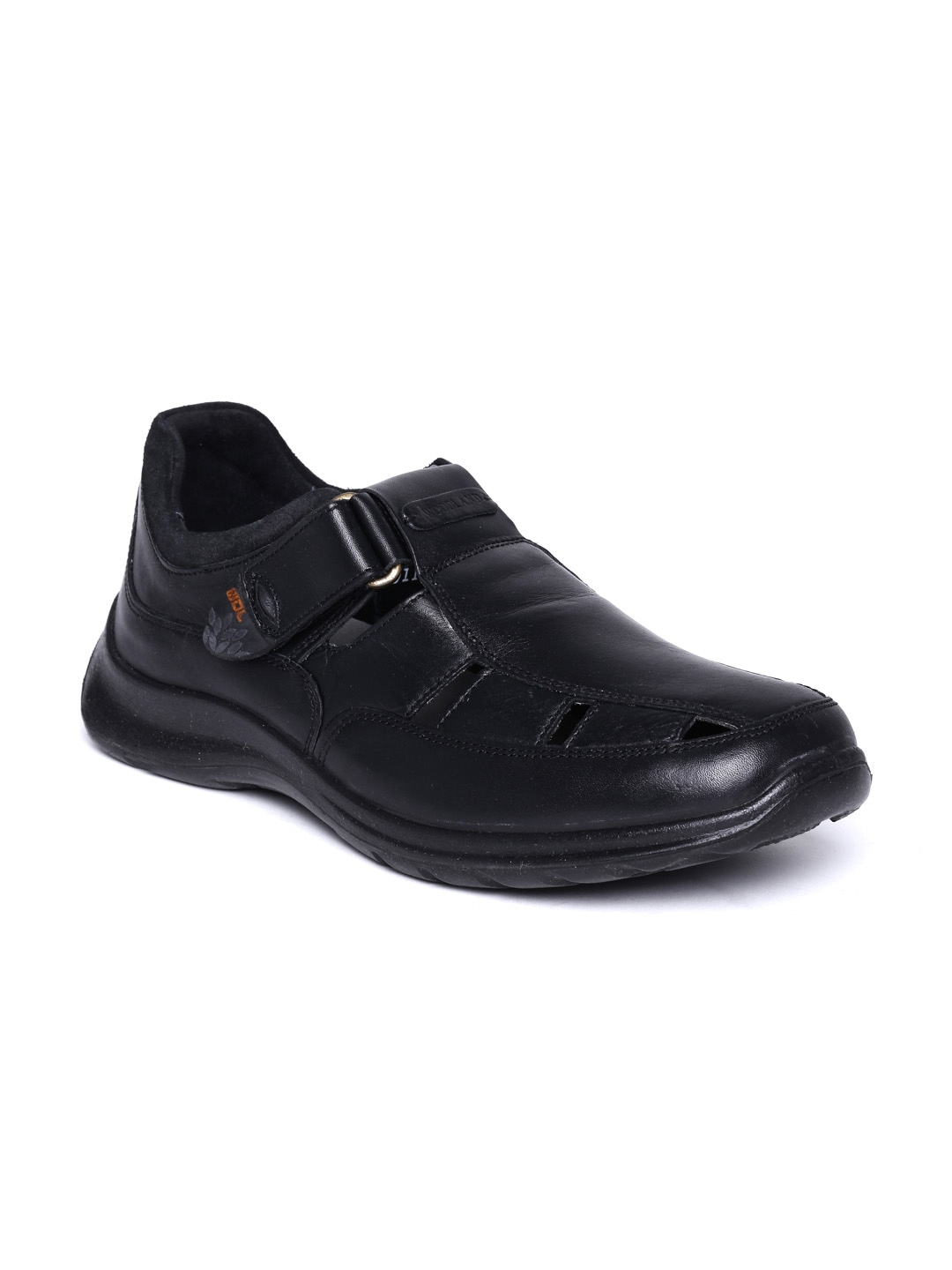 myntra woodland black leather casual shoes 563760