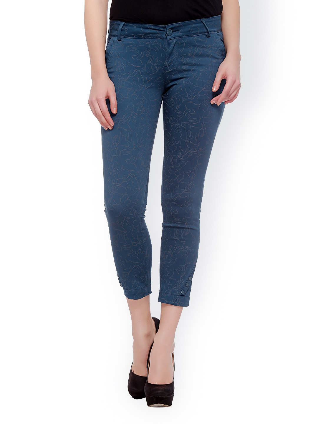 Myntra Xblues Women Blue Printed Super-Skinny Fit Cropped ...