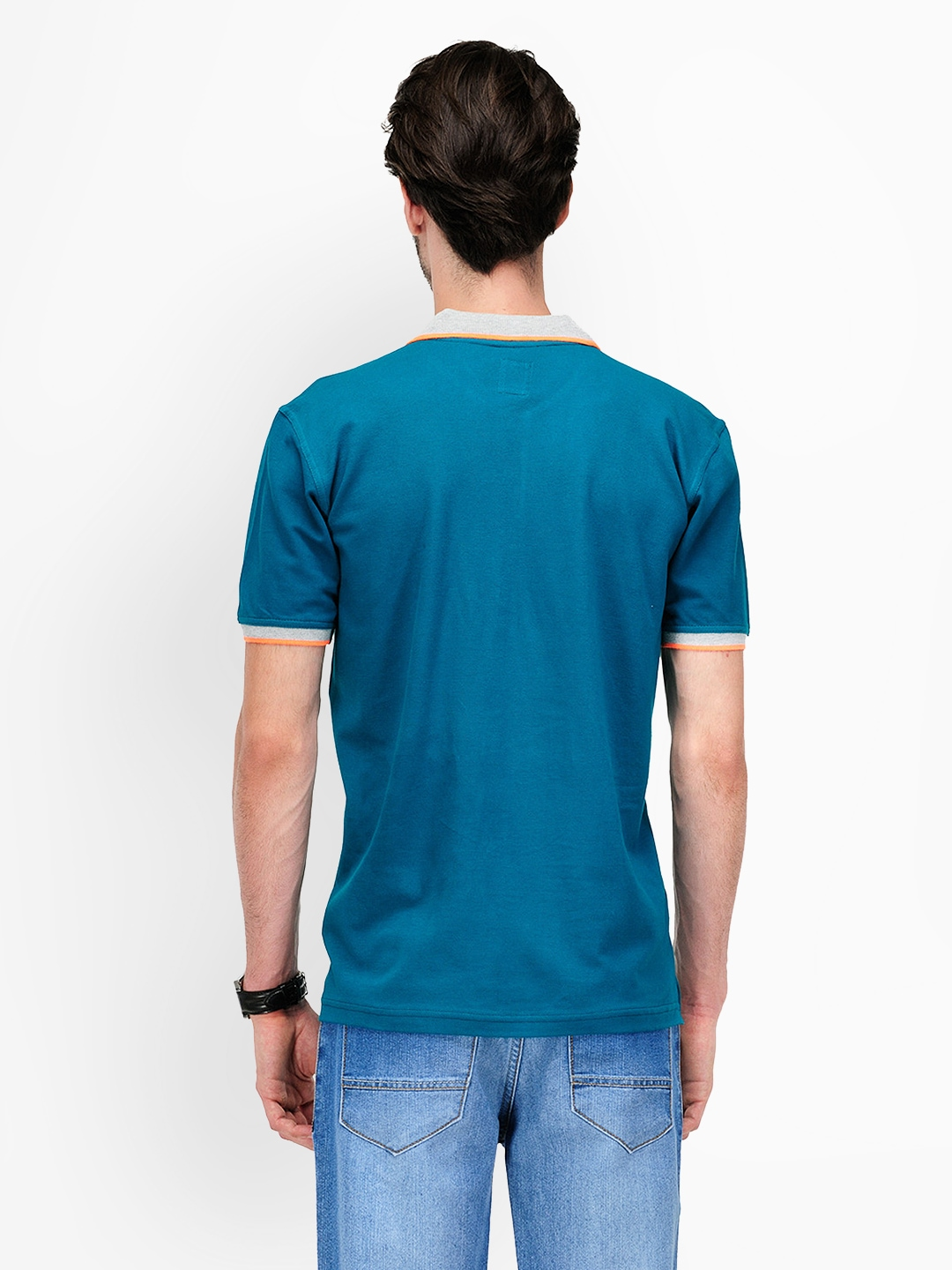 Myntra yepme men teal blue polo t shirt 380878 buy for Mens teal polo shirt
