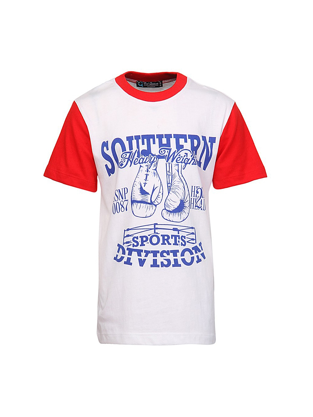 Myntra cool quotient boys blue white printed t shirt for Boys printed t shirts