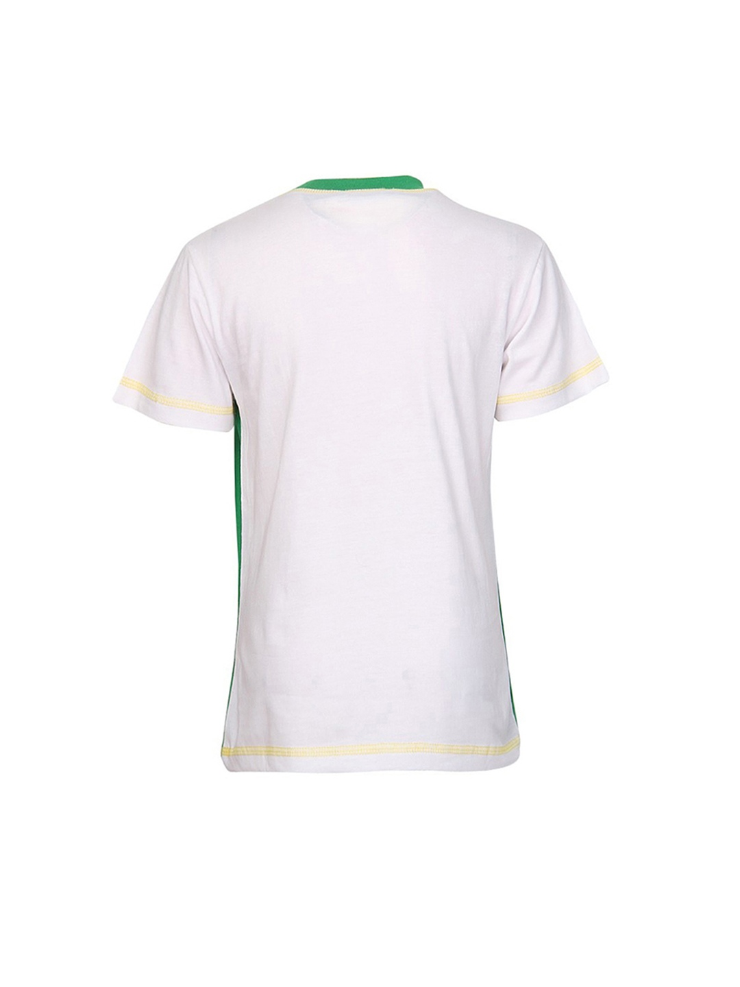 Myntra cool quotient boys green white printed t shirt for Boys printed t shirts