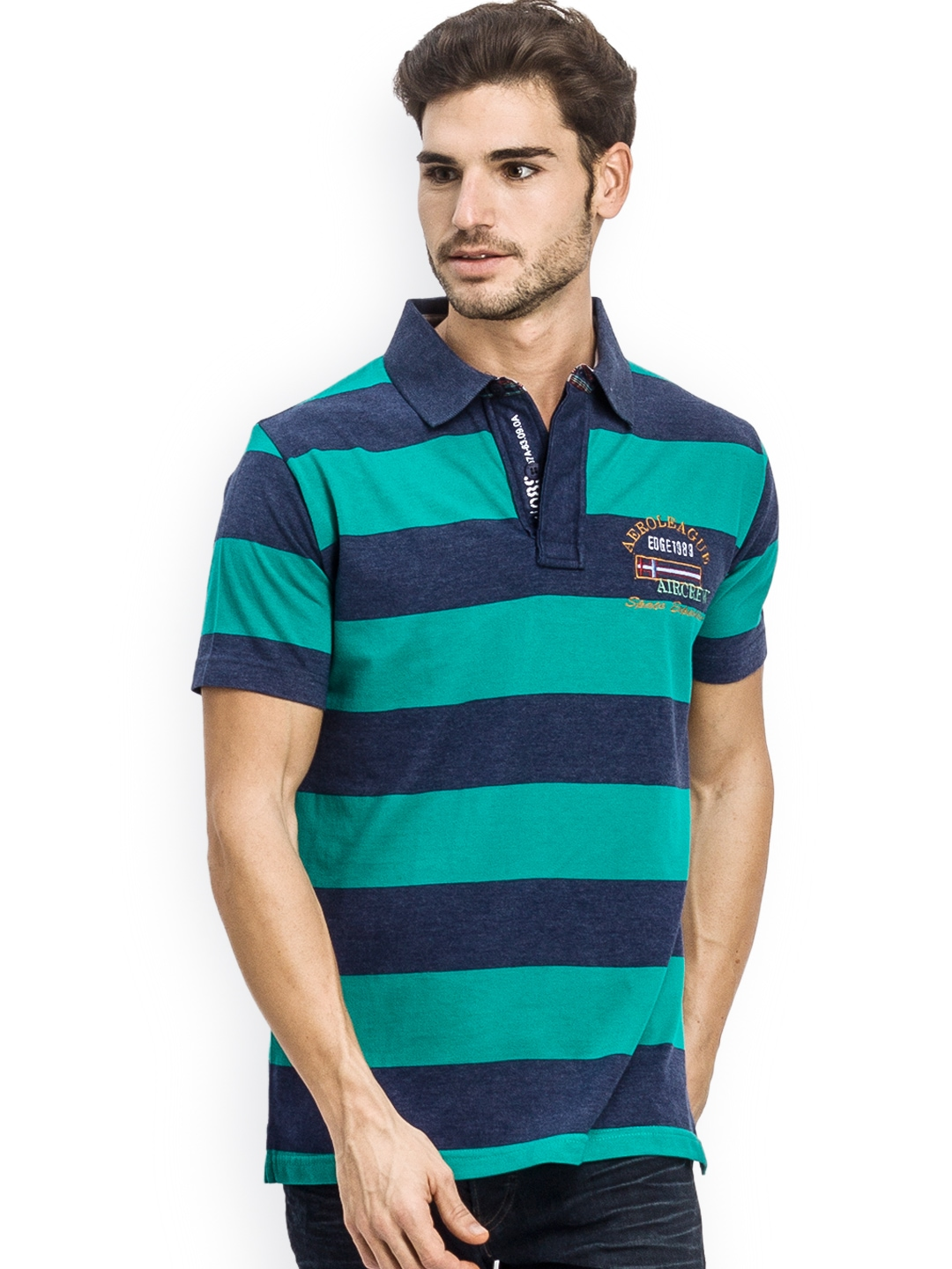 Myntra k mark men teal green navy striped polo t shirt for Mens teal polo shirt
