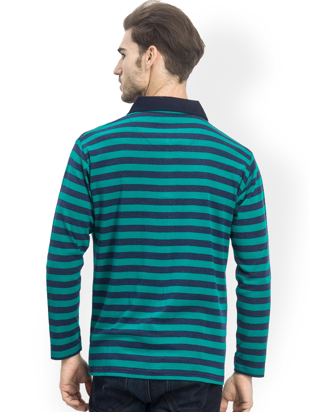 Myntra k mark men teal green striped polo t shirt 605241 for Mens teal polo shirt