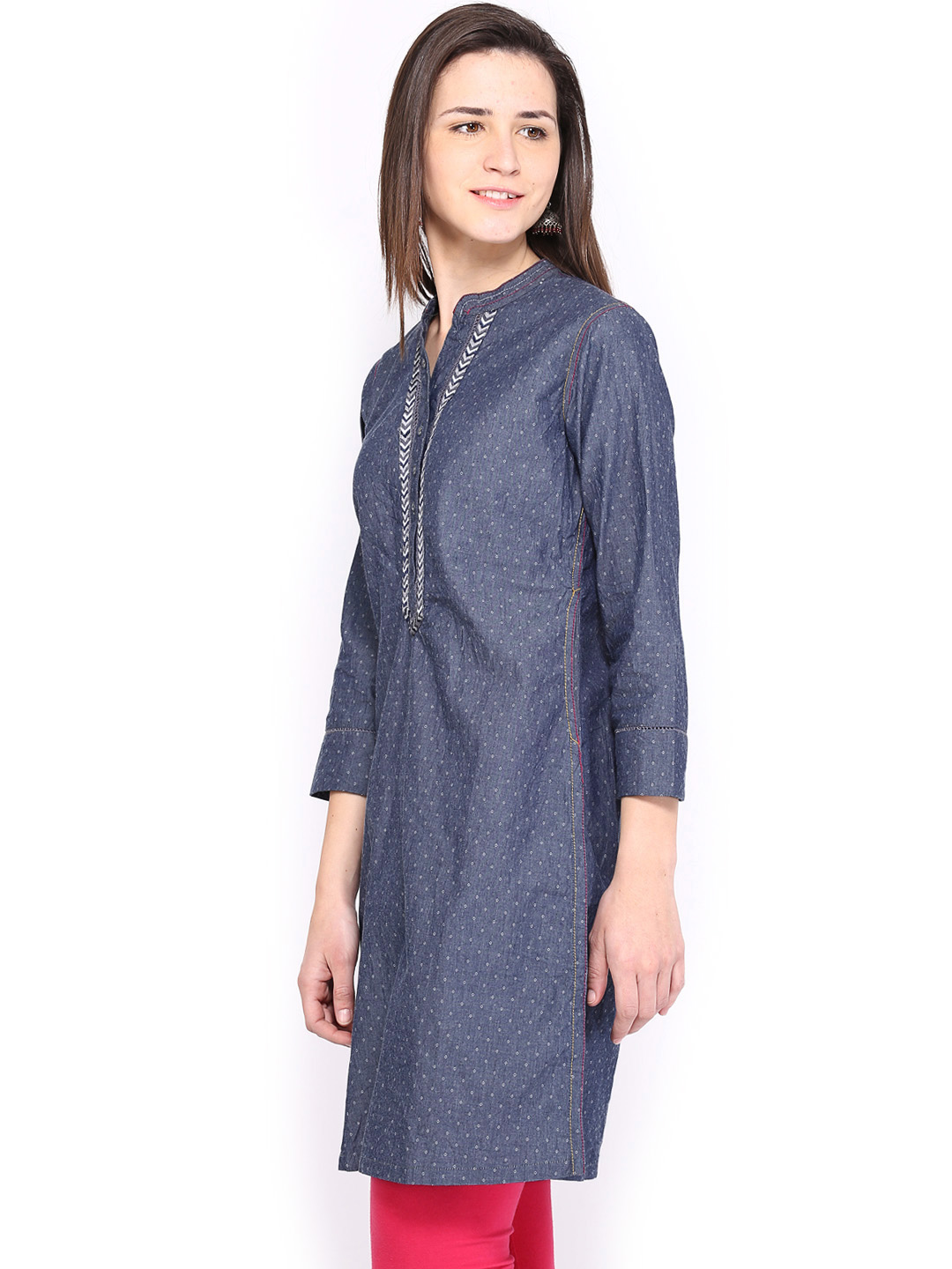 Myntra BIBA Women Blue Printed Denim Kurta 455020 | Buy Myntra Biba Kurtas at best price online ...
