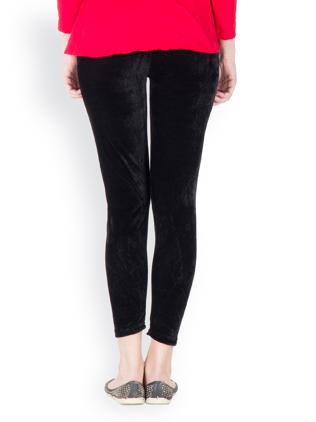 Myntra Camey Women Black Velvet Leggings 610813 | Buy Myntra Camey Leggings at best price online ...