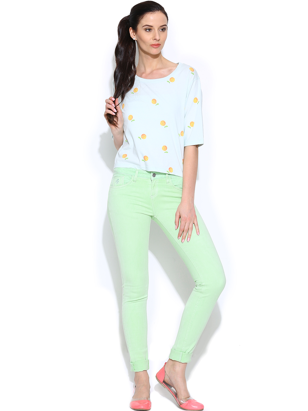 Model Womens Mint Green Skinny Jeans - Jean Yu Beauty