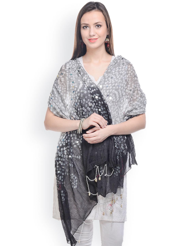 Myntra Ruhaans Women Grey U0026 Black Jaipuri Bandhej Dupatta 762818 | Buy Myntra Ruhaans Dupatta At ...