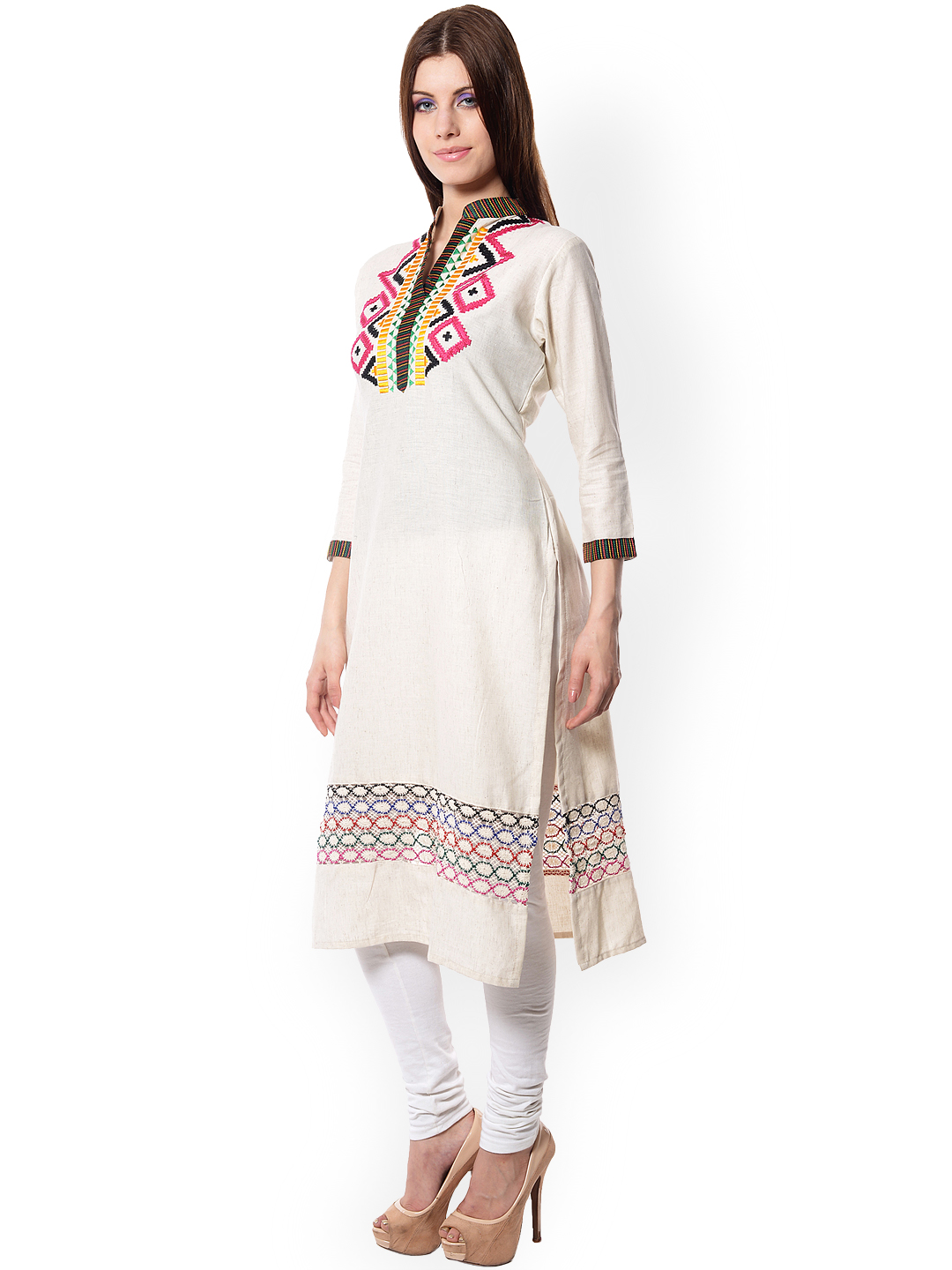 Myntra Navriti Women Off-White Embroidered Kurta 768245 | Buy Myntra Navriti Kurtas At Best ...