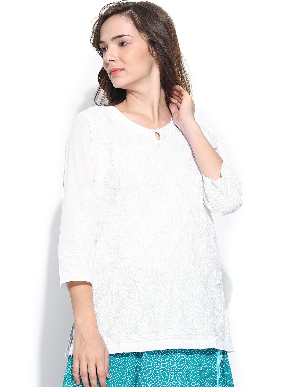 Myntra Fabindia Women White Chikankari Embroidered Kurti 776549   Buy Myntra Fabindia Kurtis At ...