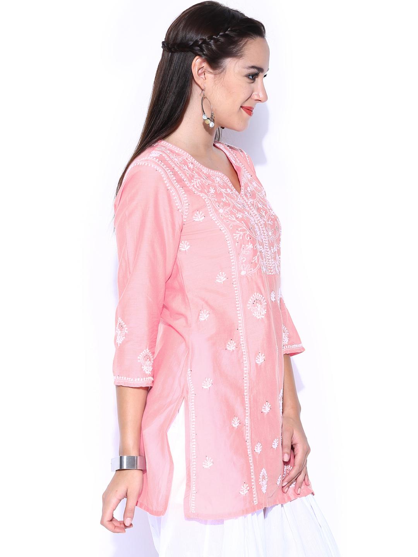 Myntra Fabindia Pink Chikankari Embroidered Silk Kurti 776673   Buy Myntra Fabindia Kurtis At ...