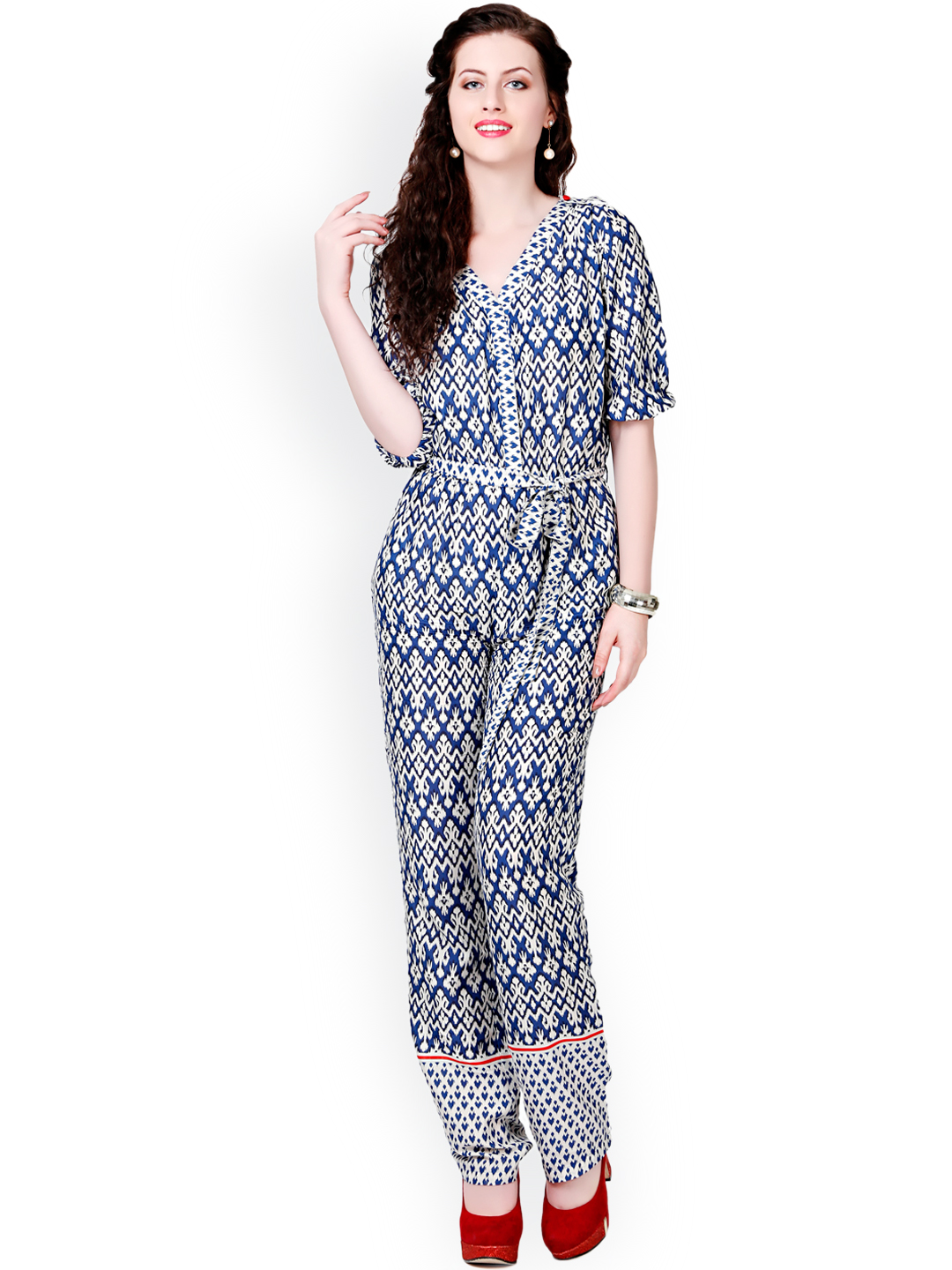 Myntra Eavan Women Black U0026 White Printed Jumpsuit 551326 | Buy Myntra Eavan Jumpsuit At Best ...