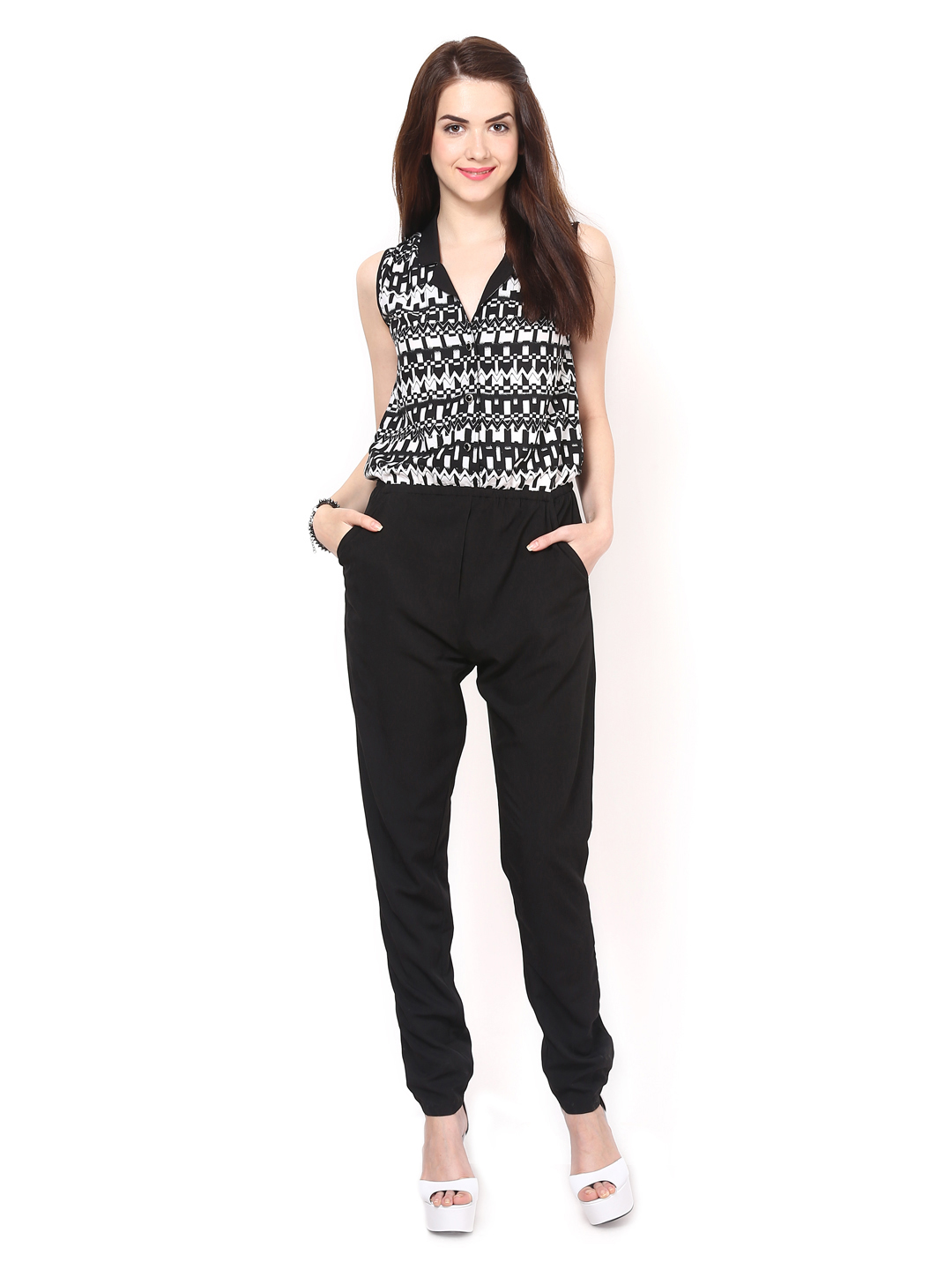 Myntra Eavan Women Black Printed Jumpsuit 396501 | Buy Myntra Eavan Jumpsuit At Best Price ...