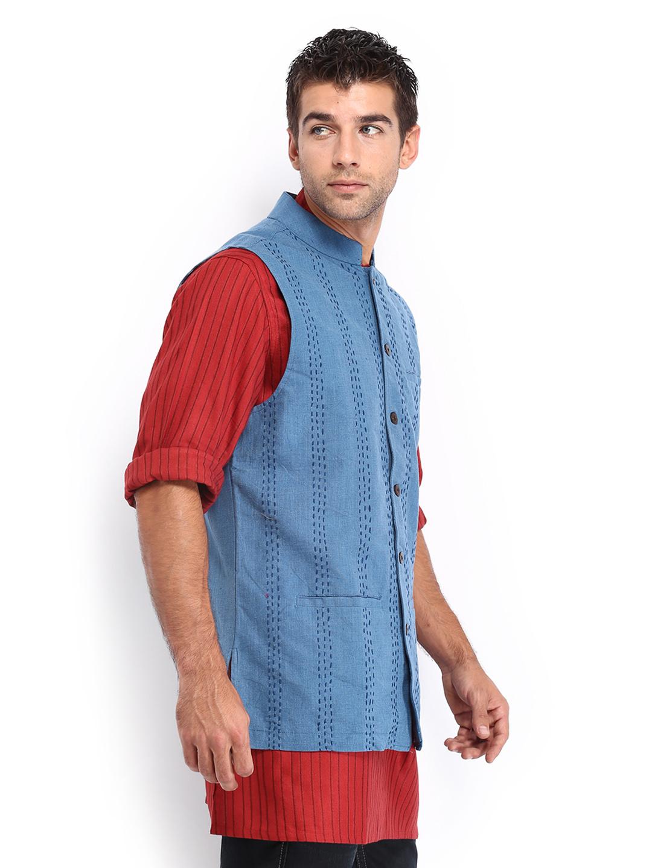 Myntra Fabindia Men Blue Hand Embroidered Nehru Jacket 474766   Buy Myntra Fabindia Jackets At ...