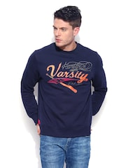 HARVARD Men Midnight Blue Printed Varsity Sweatshirt