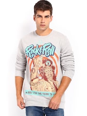 Kook N Keech Men Grey Melange Printed Sweatshirt