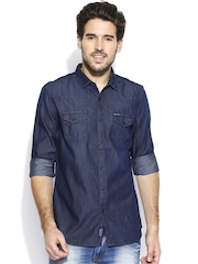 Being Human Clothing Navy Casual Denim Slim Shirt
