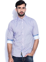 Being Human Clothing Blue Printed Slim Casual Shirt